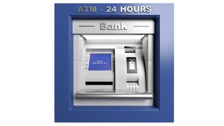 automatic transaction machine: Máquina de la atmósfera aislada en el fondo blanco