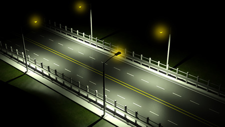 3D highway at night with lights on closeup  Stockfoto