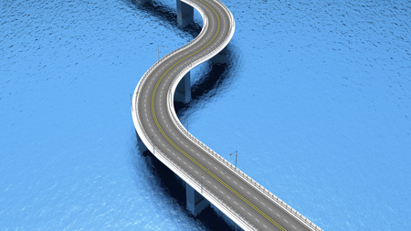 3D highway road over blue water photo