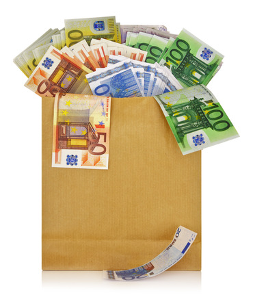 christmas profits: Euro banknotes in a shopping bag on white background Stock Photo