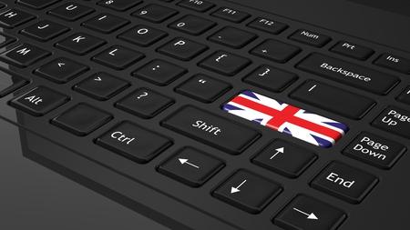 Black keyboard with United Kingdom flag on enter  photo
