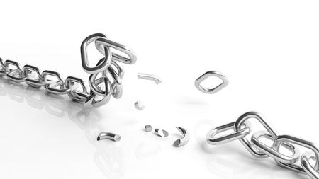cadena rota: Cadena de plata roto aislados sobre fondo blanco