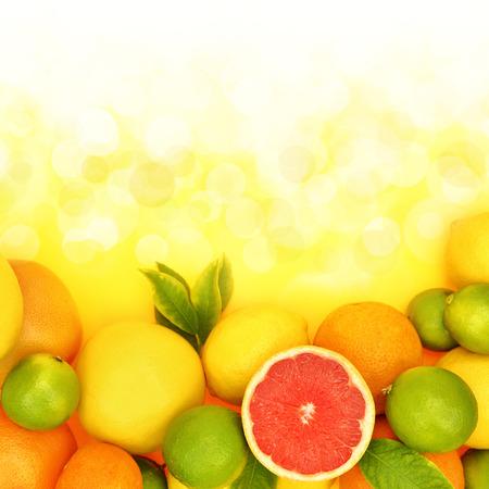 Fresh citrus fruit in shiny background