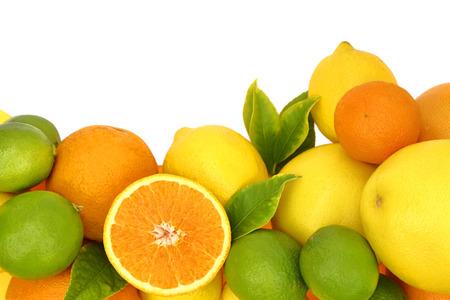 Fresh citrus fruit on white background  photo