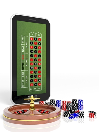 Online casino concept with tablet, roulette and chips isolated photo