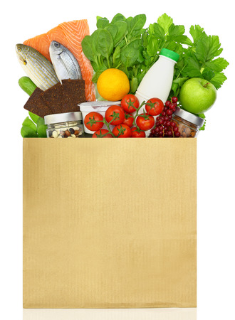 Paper bag filled with groceries 스톡 콘텐츠