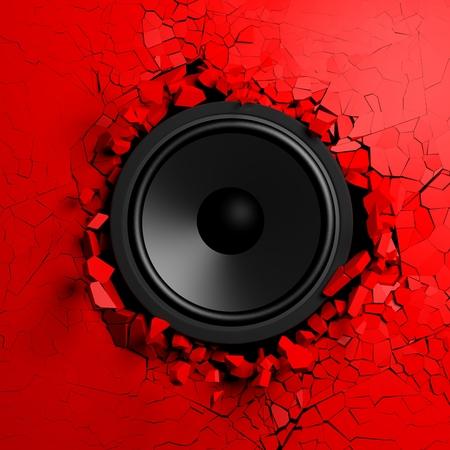 breaks: Red wall breaks from sound with loudspeaker illustration