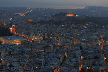 megalopolis: Cityscape aerial view at night, Athens Greece Stock Photo
