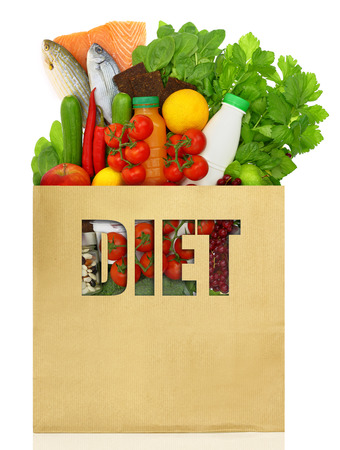 dietitian: Shopping bag filled with diet foods