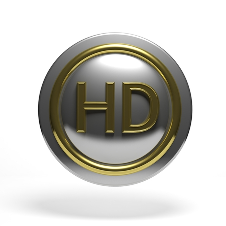 Silver round button with golden HD symbol isolated photo