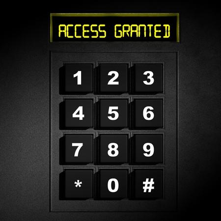 """teclado numérico: Pantalla Seguridad de marcación numérica negro con """"Acceso concedido"""""""