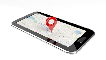 pin point: Tablet with map on screen and red pin isolated
