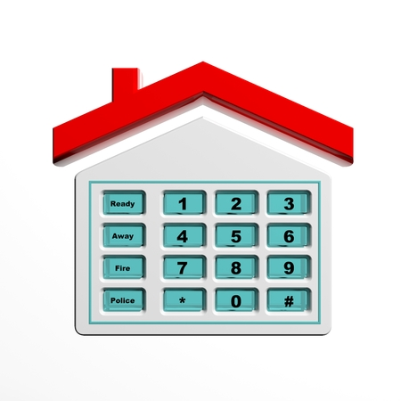 security symbol: Security numeric pad in house shape symbol isolated