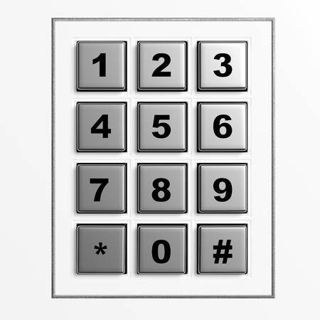 teclado numérico: Plata de Seguridad teclado numérico aislado en fondo blanco