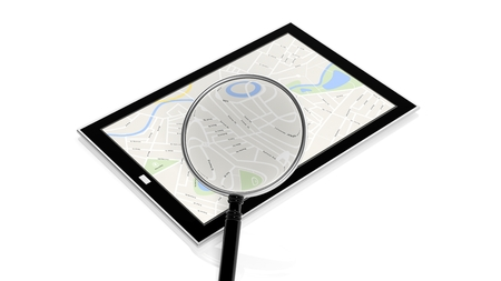 Tablet with map on screen and magnifying glass isolated photo