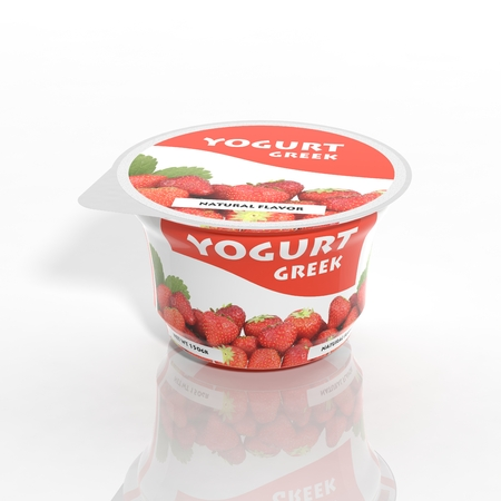 3D yogurt plastic container isolated on white Imagens