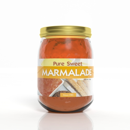 marmalade: 3D marmalade glass jar isolated on white
