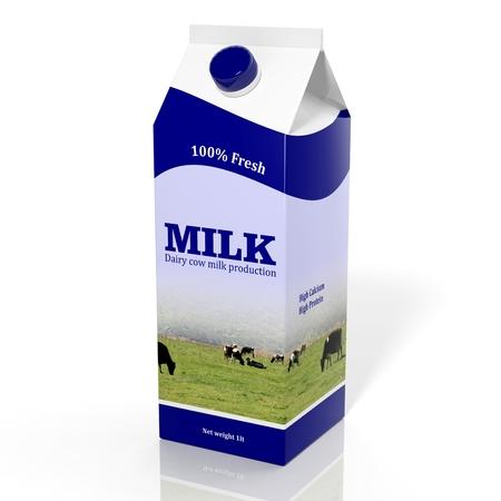 3D milk carton box isolated on white photo