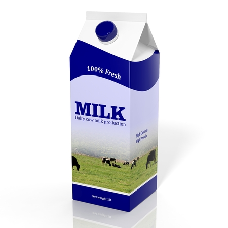 3D milk carton box isolated on white