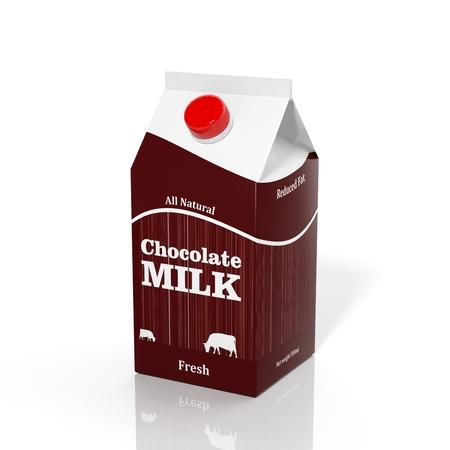 白で隔離される 3 D チョコ ミルク カートン ボックス 写真素材