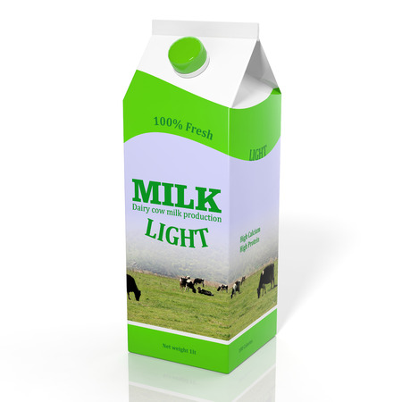 carton de leche: Caja de cart�n de leche dieta 3D aislado en blanco Foto de archivo