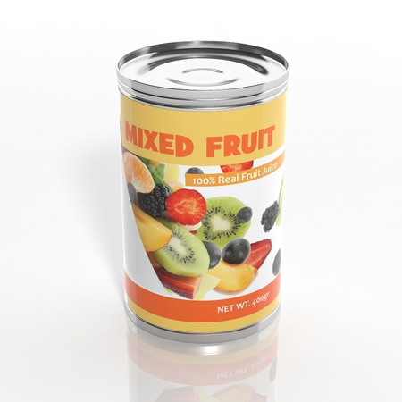 can food: 3D mixed fruit metallic can isolated on white Stock Photo