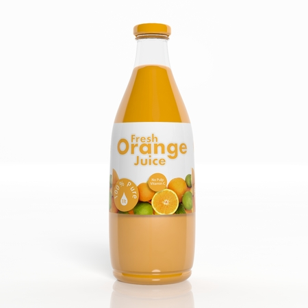 3D orange juice transparent glass bottle isolated on white 免版税图像