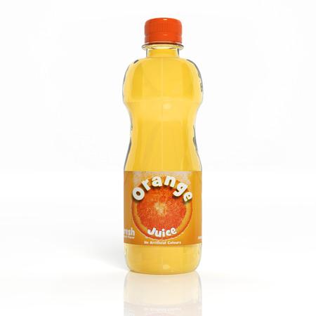 3D orange soda transparent glass bottle isolated on white