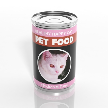 pet store advertising: 3D cat food metallic can isolated on white