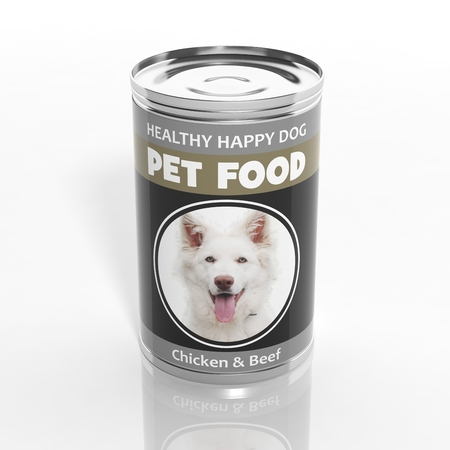 pet store advertising: 3D dog food metallic can isolated on white Stock Photo