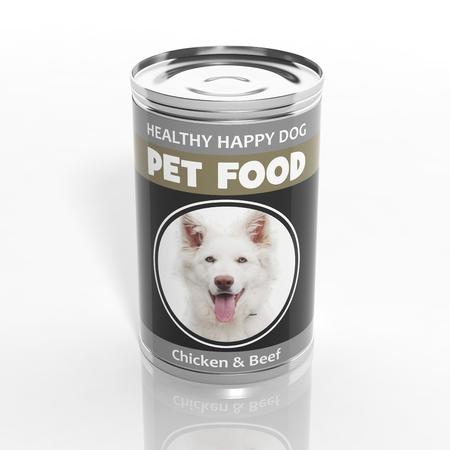 tiendas de comida: 3D metálico comida para perros puede aislado en blanco