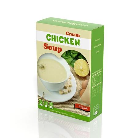 sopa de pollo: Paquete de papel sopa de pollo 3D aislado en blanco Foto de archivo