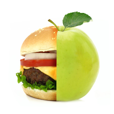 half apple: Half burger half apple concept isolated on white background Stock Photo