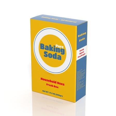 白で隔離される 3 D のベーキング ソーダ紙パッケージ 写真素材