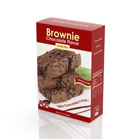 3D Brownie Mix paper package isolated on white 免版税图像