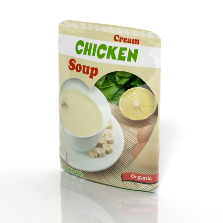 3d chicken: 3D Chicken Soup packet isolated on white