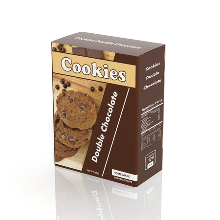 3D Cookies paper package isolated on white