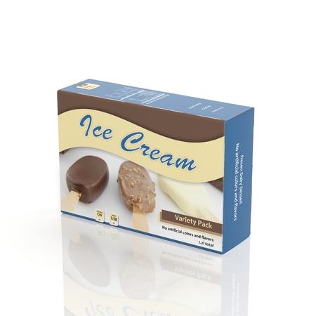 白で隔離 3 D アイス クリーム紙パッケージ 写真素材