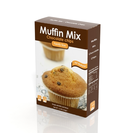 3D Muffin Mix paper package isolated on white photo