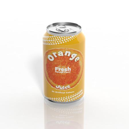 3D Orange Soda can isolated on white photo