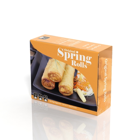 super market: 3D Spring Rolls paper package isolated on white