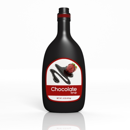 chocolate syrup: 3D Chocolate Syrup bottle isolated on white