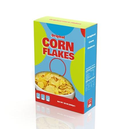 3D Corn Flakes papier pakket geïsoleerd op wit Stockfoto