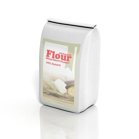 白で隔離される 3 D のすべての汎用小麦粉袋