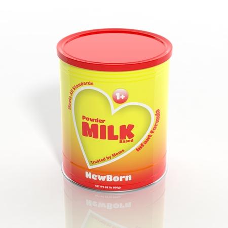 3D Milchpulver kann isoliert auf weiß