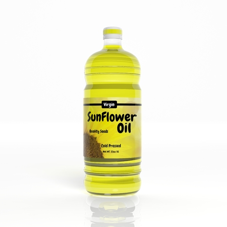 3D Sunflower Oil bottle isolated on white Stock Photo