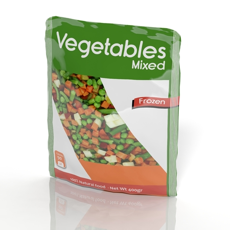 3D Frozen Vegetables packet isolated on white