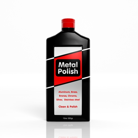 tarnish: 3D Metal Polish plastic bottle isolated on white background