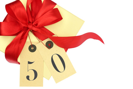 number 50: Gift box with number 50 and ribbon isolated on white Stock Photo