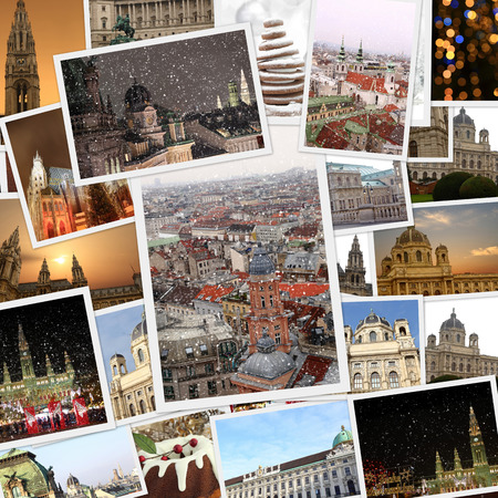 Fine winter photography collage Vienna Austria photo